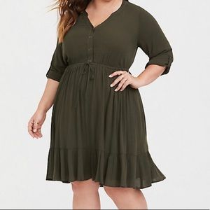 Torrid | OLIVE BUTTON FRONT SKATER DRESS